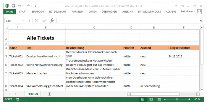 Die Liste der Tickets in MS Excel
