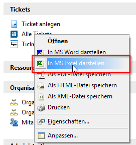 exporting tickets to ms excel use in step blue