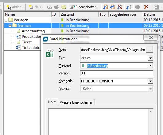 MS Excel-Vorlage im System aufnehmen